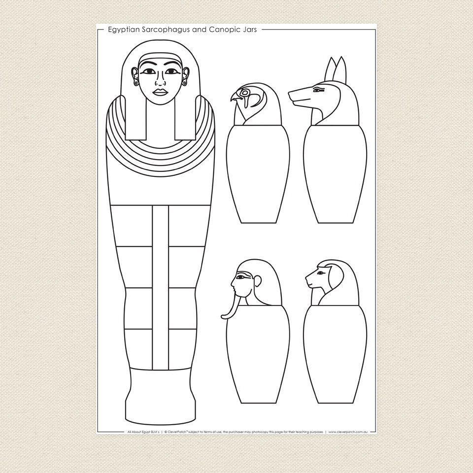 egyptian sarcophagus and canopic jars colouring sheet