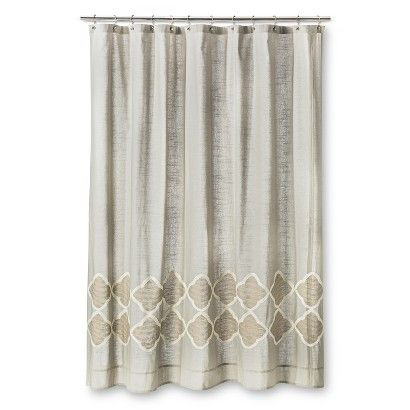 Threshold Embroidered Geometric Shower Curtain Gray Gold