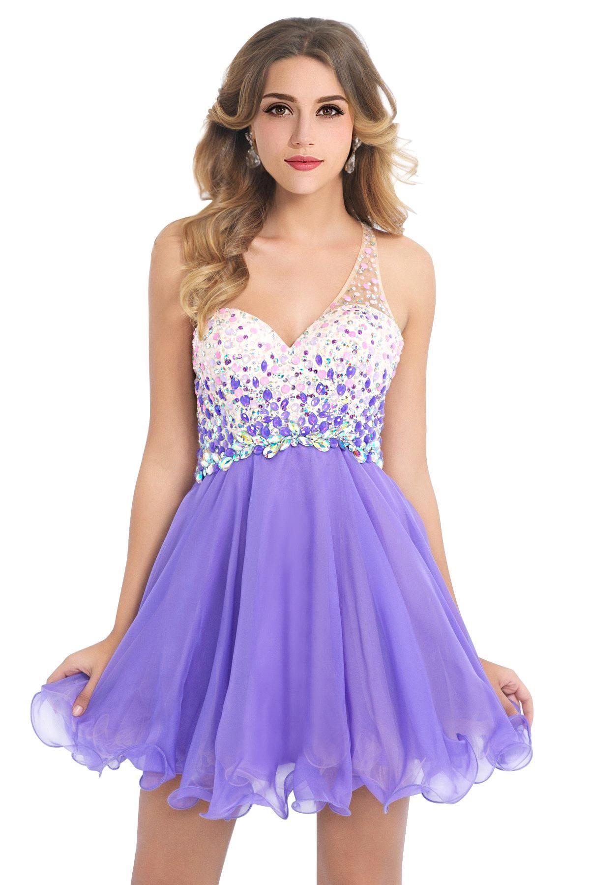 $59.9,Lovely One Shouler Coral Crystal Beaded Short Prom Dresses ...