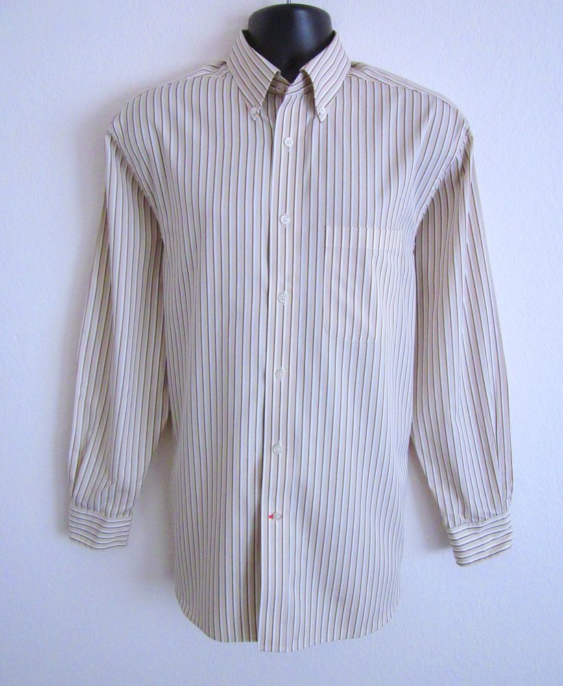 232ac8da DANIEL CREMIEUX Mens M Brown Khaki White Striped Button Front Long Sleeve  Shirt #DanielCremieux #ButtonFront Be sure to check us out at J and S  Menswear for ...