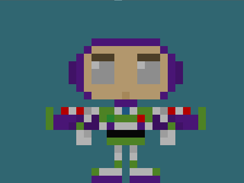 Famous Characters In Pixel Art Buzz Lightyear The Space Ranger From Disney Pixar S Toy Story Trilogy Buzz Buzzlightyear Spacerang Pixel Art Art Pixar Toys