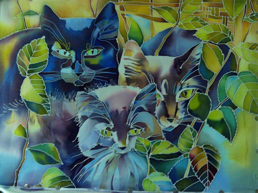 вставляемая картинка рисунки батиком эскизы картинки кошки пришла магазин