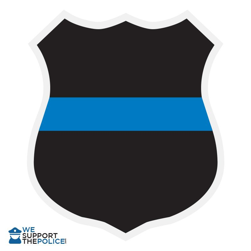 Blue line badge sticker