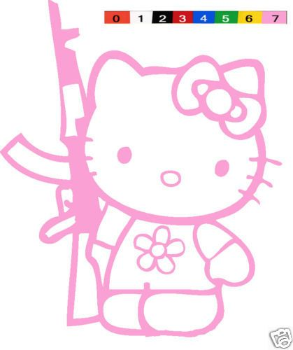 HELLO KITTY AK GUN SNIPER VINYL DECAL STICKER CAR TRUCK - Hello kitty custom vinyl decals for car