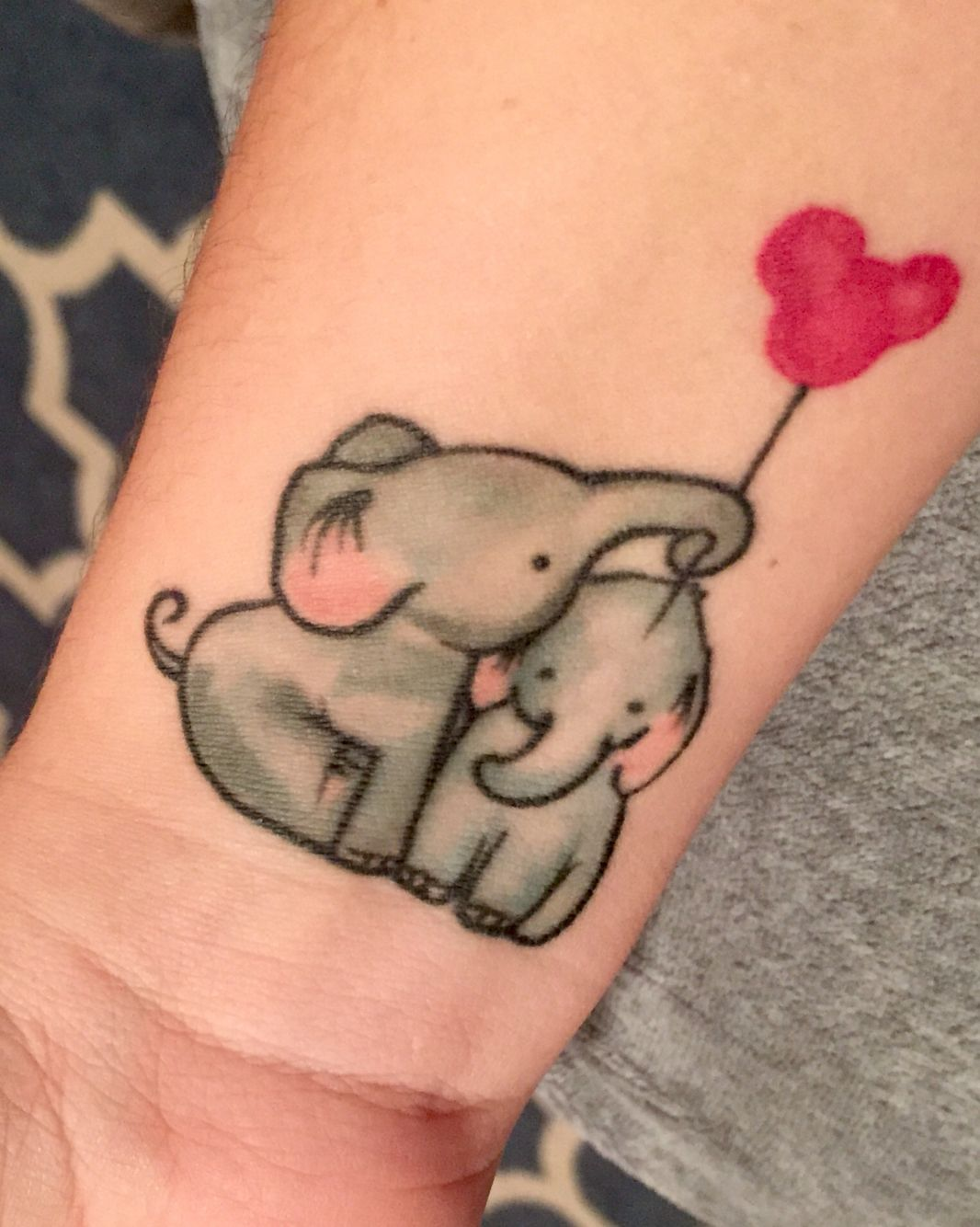 Baby elephants tattoo in honor of my sons family mickey for Baby s first tattoo book