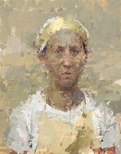 Ann Gale, Self Portrait with Headband, 2007 Oil on linen on masonite 14 x 11 inches   http://paintingperceptions.com/wp-content/uploads/2014/11/ag-15.jpg