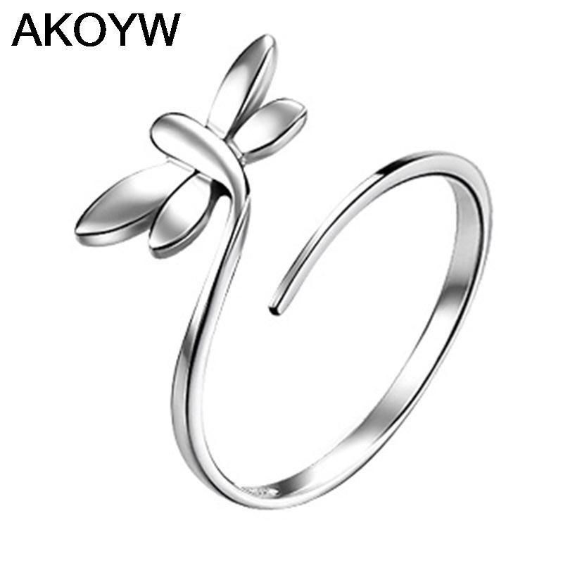 Verzilverd libellen opening ring Mode vrouwelijke modellen leuke vintage sieraden wilde super flash crystal sieraden
