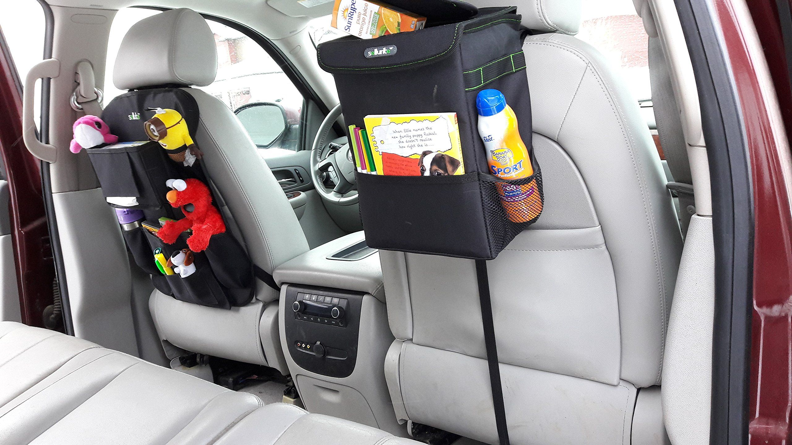 Sellurite Car Trash Can And Car Seat Organizer Duoa Car Garbage Can With Lid And Backseat Organizer With Cup Holder Car Seats Trash Can For Car Best Car Seats