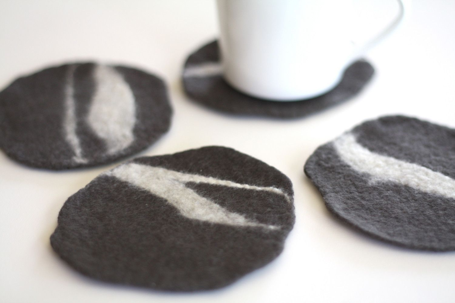 Felted Pebble Coaster set of four in graywhite by delica on Etsy