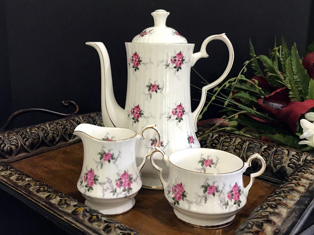 Hammersley Teapot, Princess House Pot Sugar and Creamer