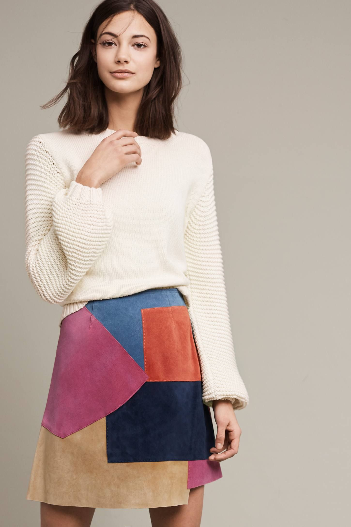 Lova Ribbed Sweater | Suede mini skirt, Mini skirts and Anthropologie