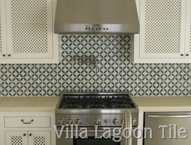 cement tile backsplash could tone it down with pattern behind