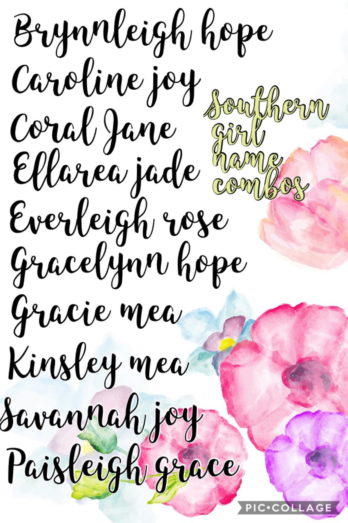 Southern Girl Names W Middle Names Baby Girl Middle Names
