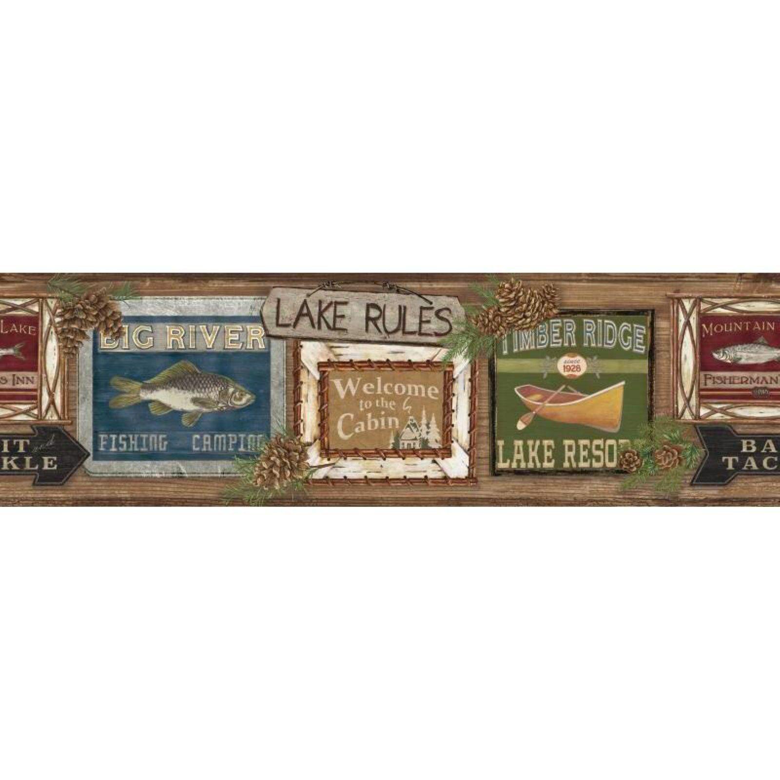 York Wallcoverings Rustic Living Lake Rules Wallpaper