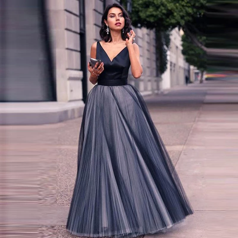 Satin Tulle Long Party Gowns