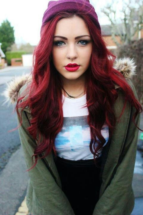 Dark Red Hair Color – HOW TO PULL IT OFF | Red hair, Lips and ...