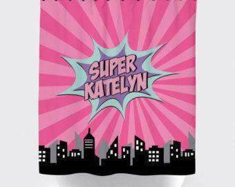 Superhero Girl Shower Curtain, Superhero Shower Curtain, Pink Purple And  Mint, Custom Name