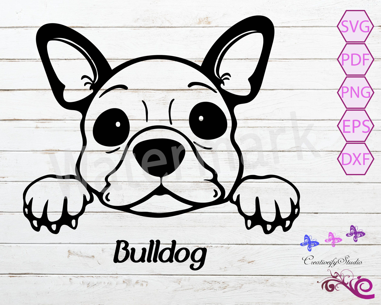 Peeking French Bulldog Dog Clipart Svg Dog Wall Decal Bulldog