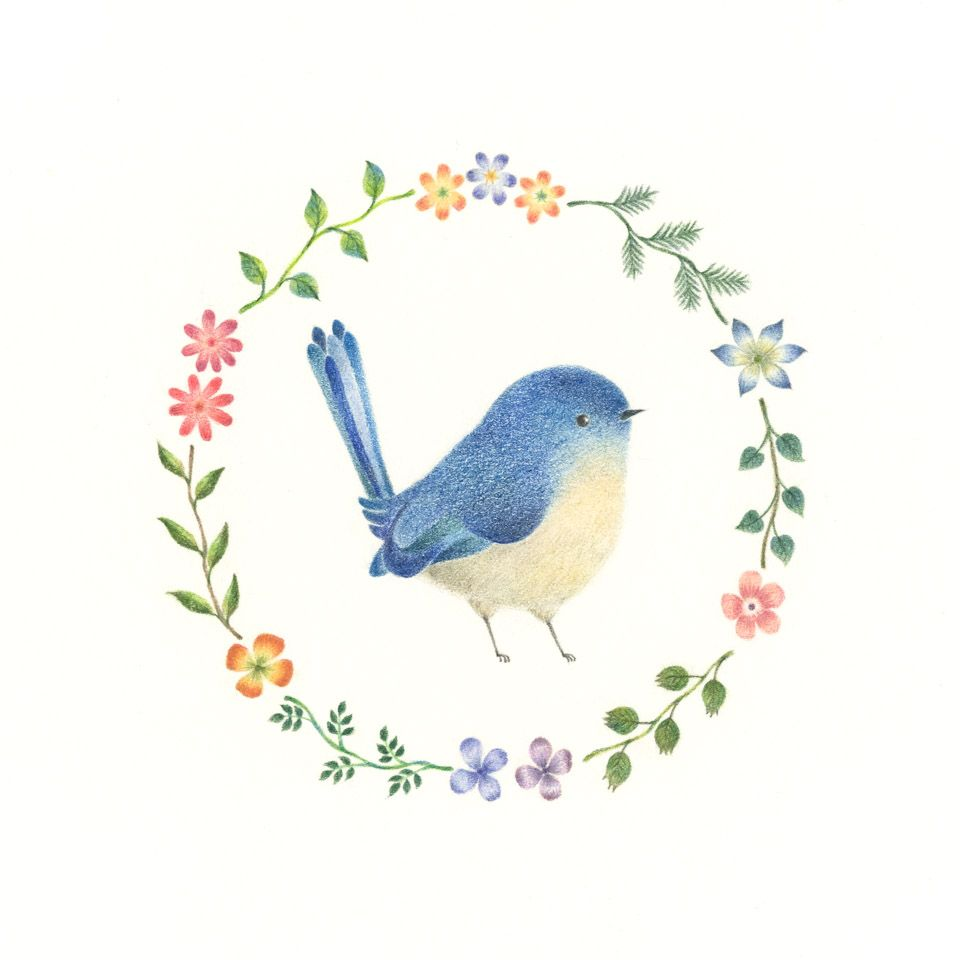 """Little Blue Bird and Wreath"" −RiLi, picture book, illustration, design…"
