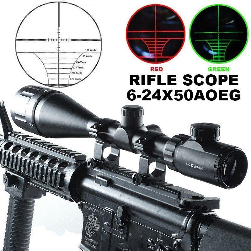 6-24x50 AOE Tactical Optics Rifle Sight Illuminated Riflescope Hunting Scope
