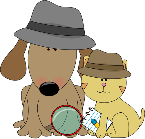 Detective dog and cat.