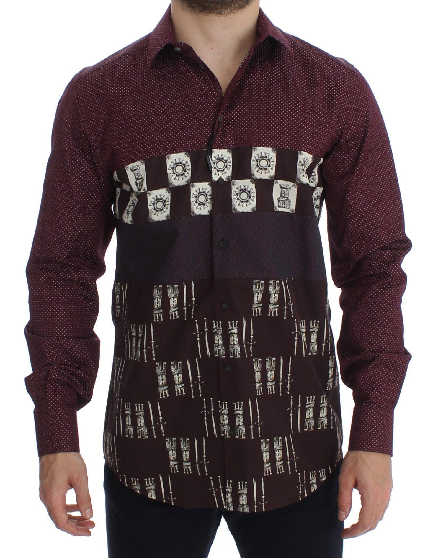 Dolce & Gabbana Bordeaux Medieval Print Slim Fit Casual Shirt