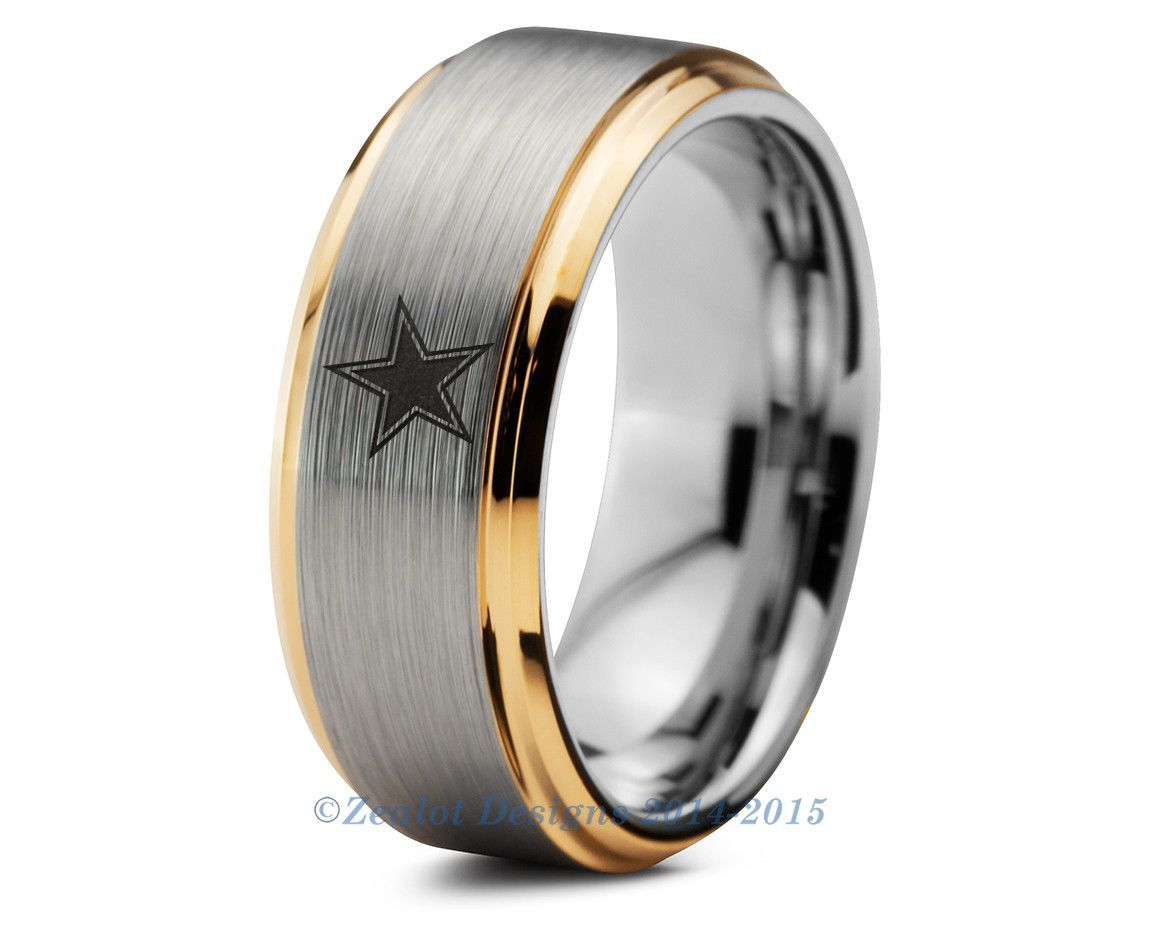 Dallas Cowboys Tungsten Wedding Band Ring Mens Womens Beveled Yellow Gold Nfl Sports Fan Texas Anniversary All Custom Sizes Available: Custom Cowboy Wedding Rings At Reisefeber.org