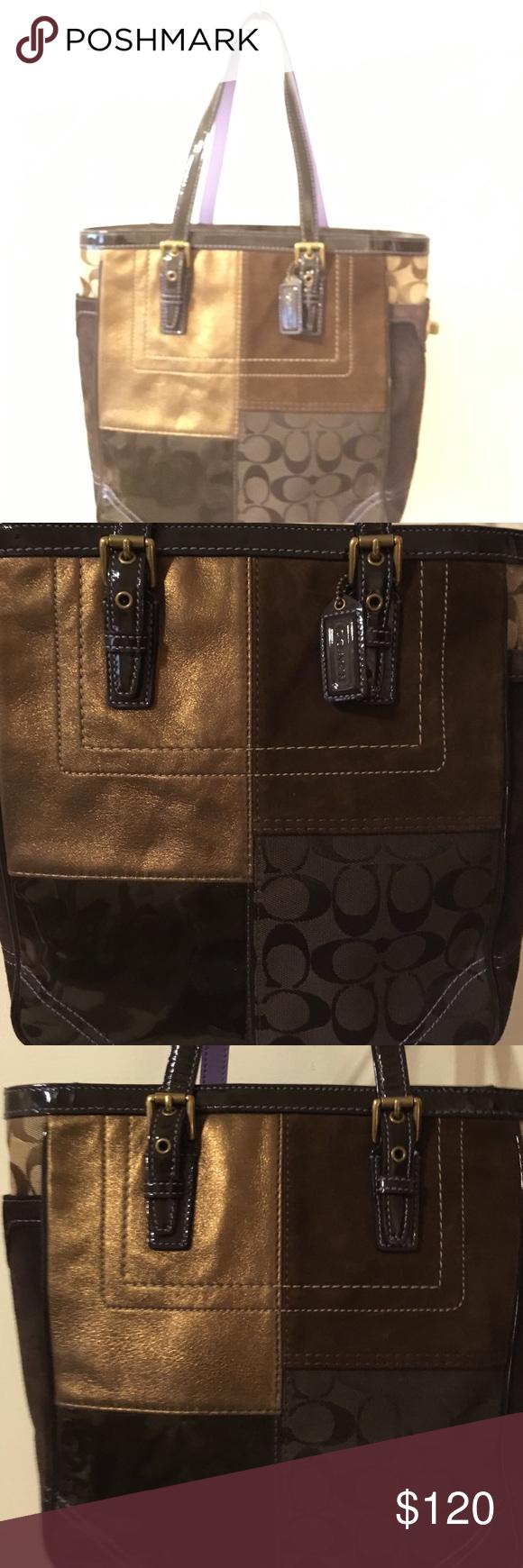Authentic Coach Brown Patchwork Handbag Suede Leather Jacquard Tote F06j F10432 Rox 8 Drop Straps