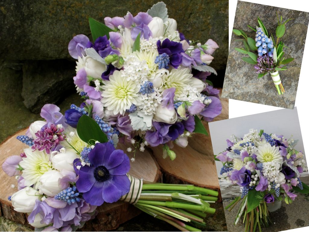 Wedding Bouquets In Purple Lavender Blue And Champagne Vermont Based Flowers Weddings