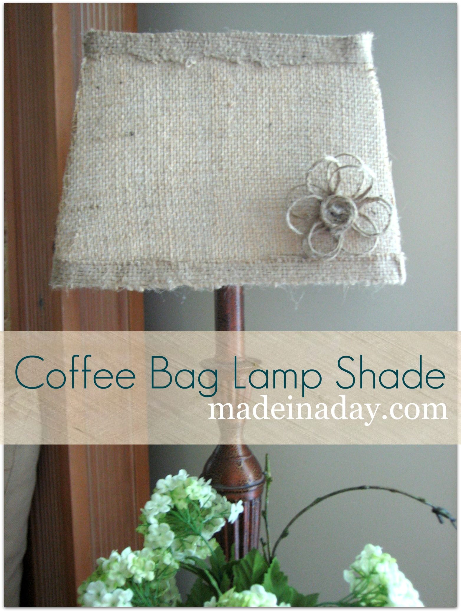 Twine flower and burlap lamp shade home diy crafts pinterest twine flower and burlap lamp shade arubaitofo Images