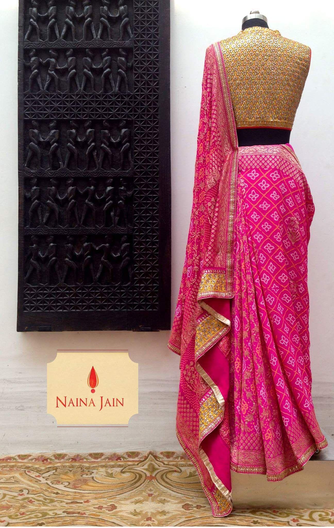 naina jain bandhni saree for this summer festive- ethnic and elegant ...