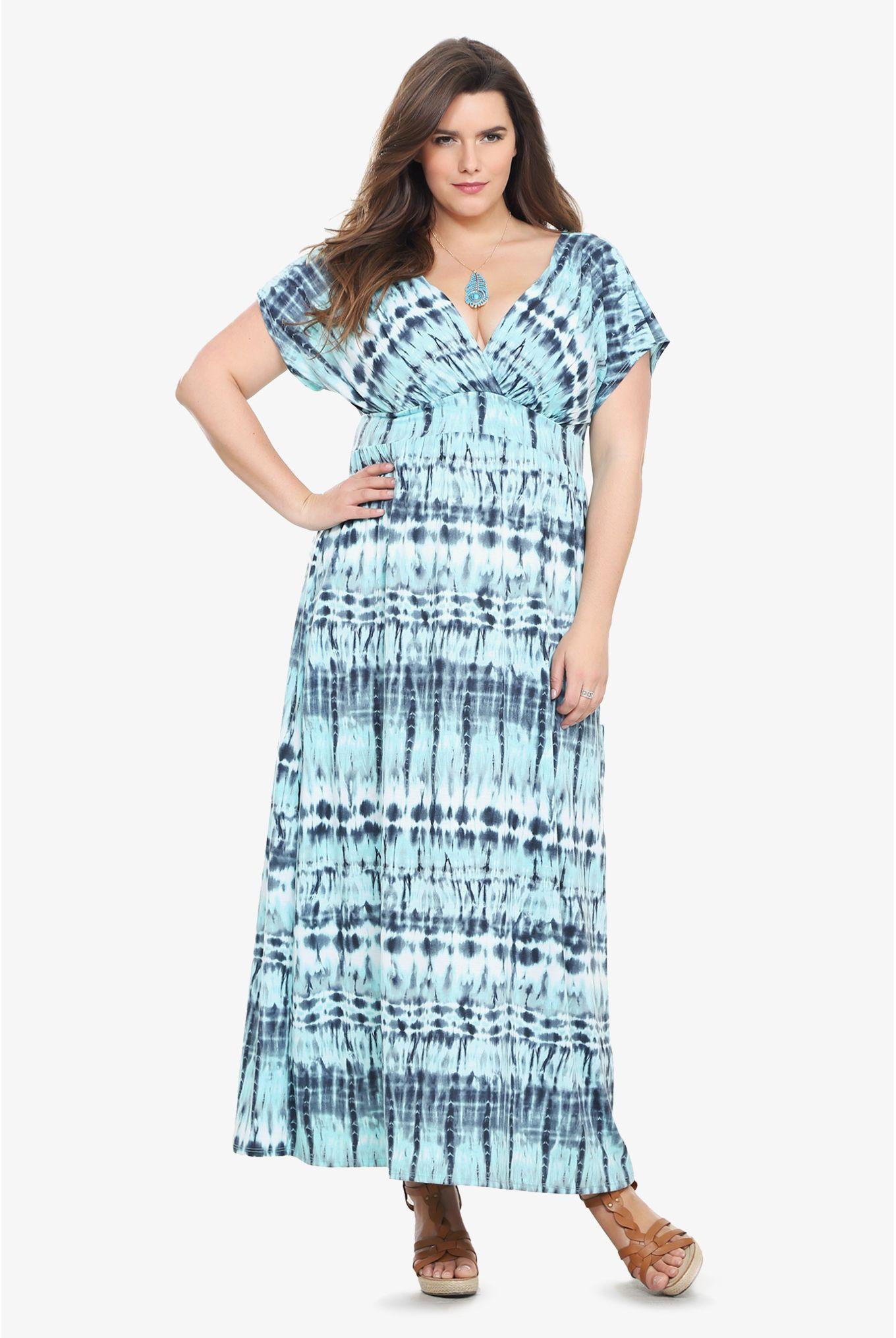 Blue Tie Dye Surplice Maxi Dress