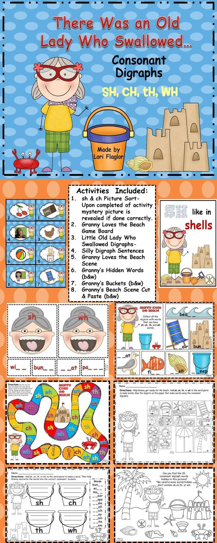 Consonant Digraphs The Little Old Lady Who Swallowed