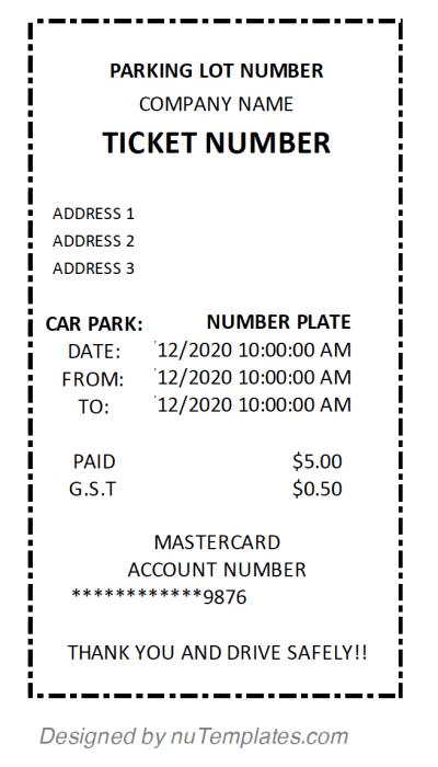 Parking Receipt Template Receipt Template Receipt Templates