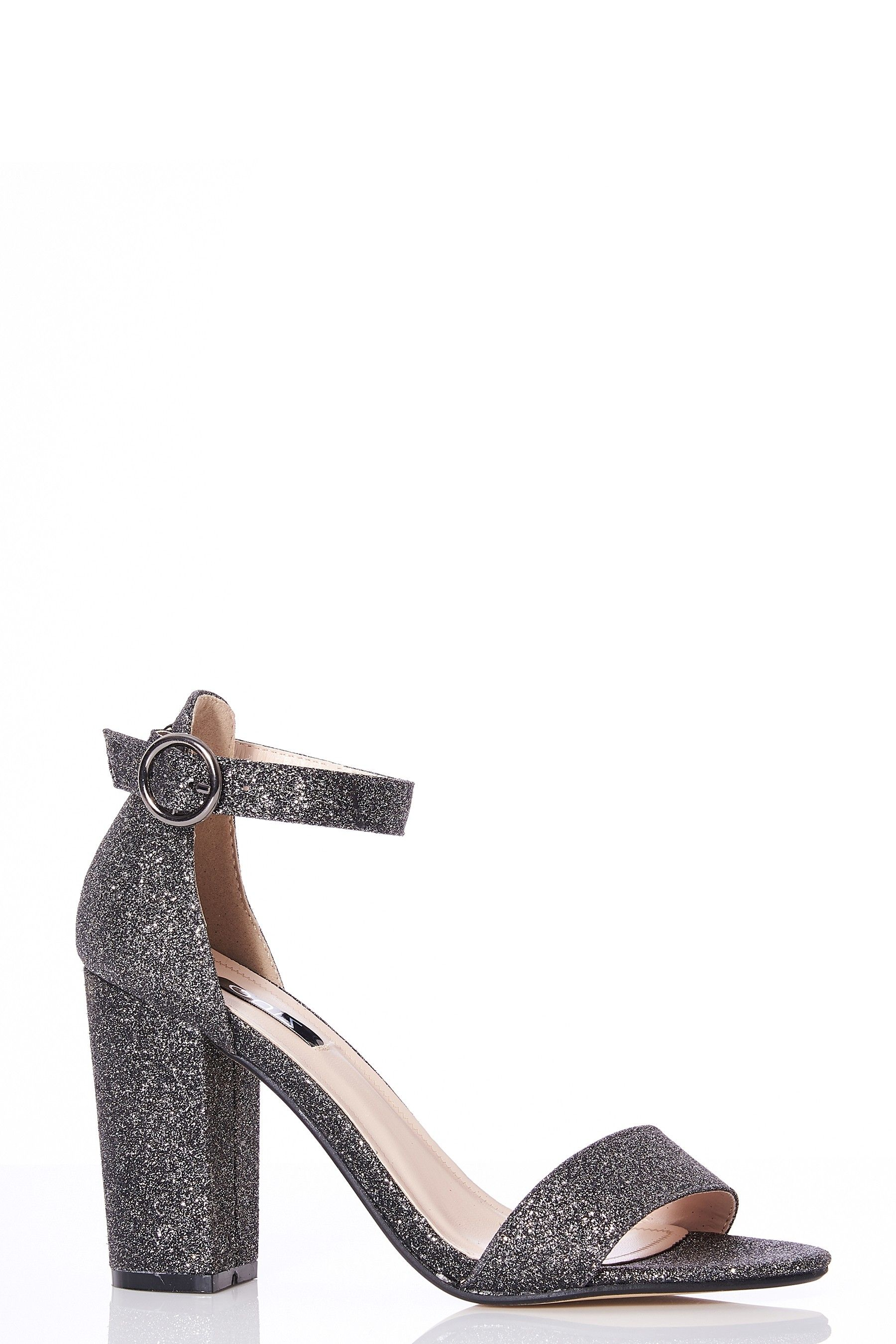 48acc5aeea3 Womens Quiz Glitter Block Heels - Grey