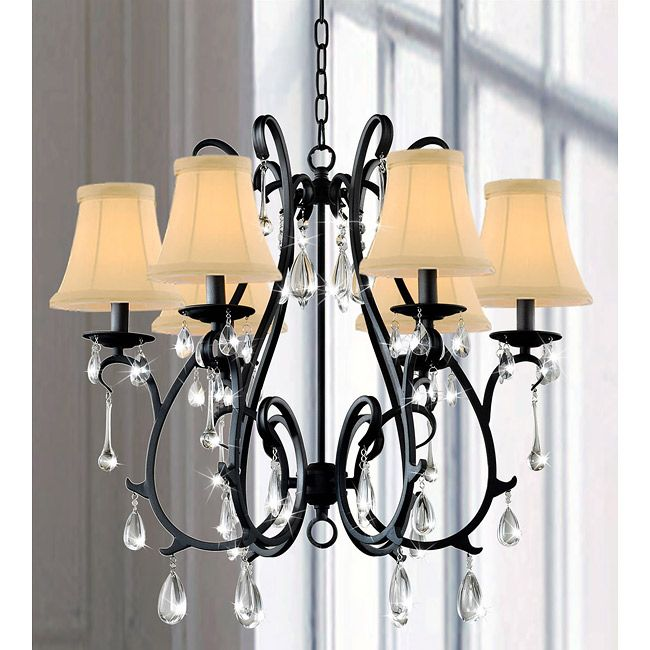 6 Light Curved Iron and Crystal Chandelier – Black Chandelier with Crystals