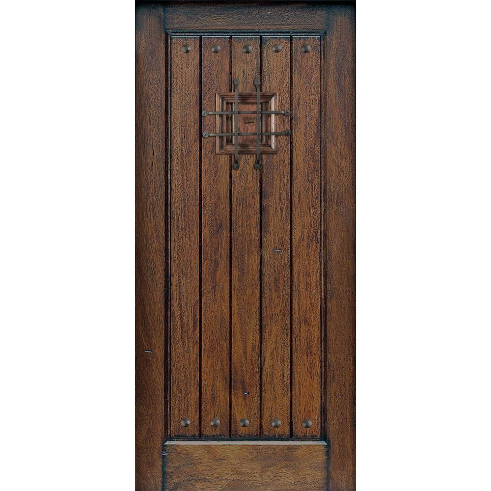 Main Door Rustic Mahogany Type Prefinished Distressed V Groove Solid
