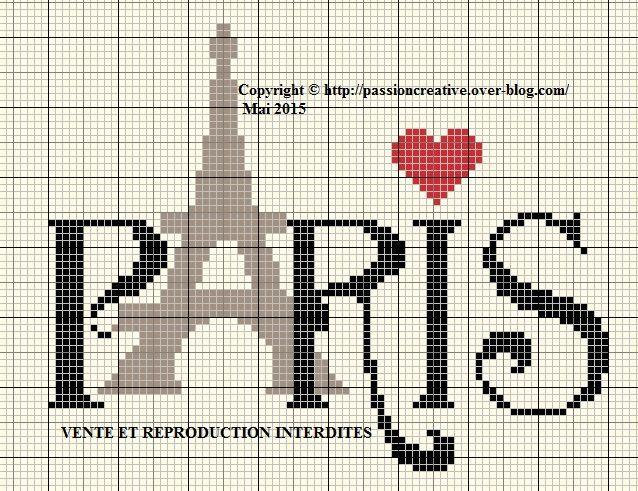 Grille gratuite point de croix paris tour eiffel coeur le blog de isabelle crafts - Grille point de croix gratuite coeur ...