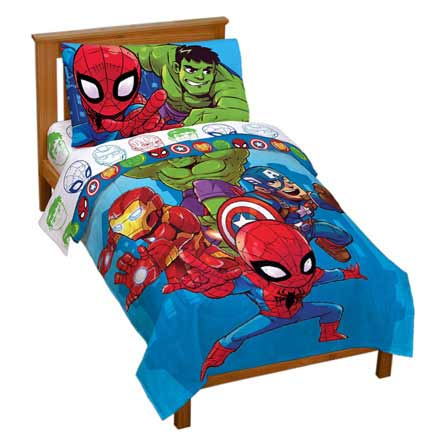 Best Heroes Amigos 4 Piece Toddler Bed Set Avengers Bedding 400 x 300