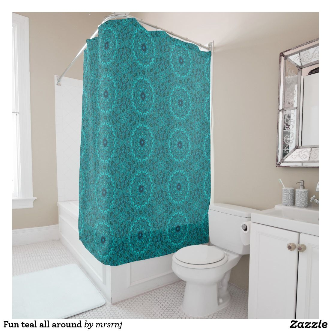 Fun Teal All Around Shower Curtain Zazzle Com Stylish Shower