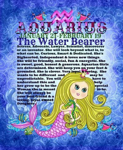 f402afdcf $4.95 AQUARIUS Baby Girl MERMAID Zodiac - Astrology, Horoscope, birth  sign,Nursery Ready to Frame Print, handmade, blue. pink, blonde 8X10 digital