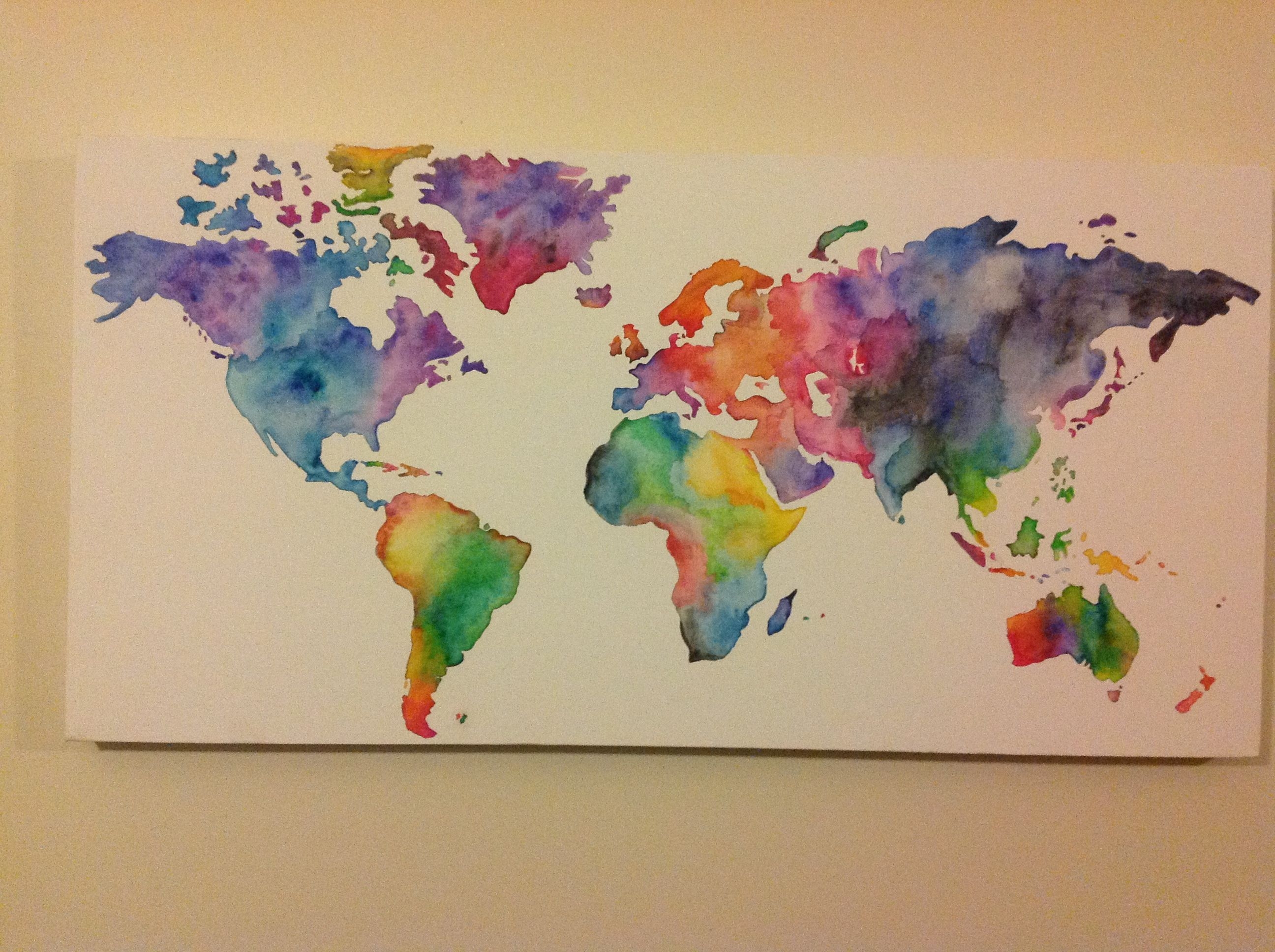 Homemade watercolor world map! Sketch and paint! | DIY | Pinterest ...