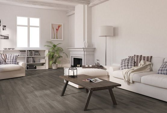 Vintage Living Room With Oak Plank Grey Laminate Flooring