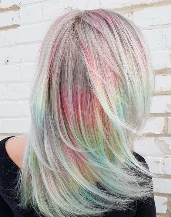 Top 15 Soft Silver Tones With Rainbow Hair Highlights 2018