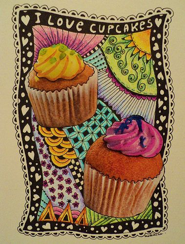 zentangle cupcake some art along w your sweet stuff