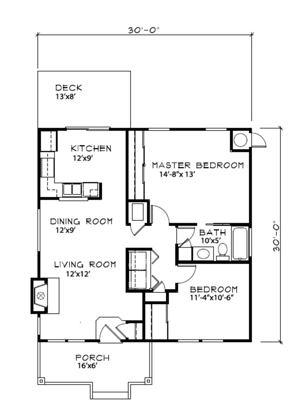 Cottage style house plan 2 beds 1 baths 900 sq ft plan for 900 sq ft floor plans