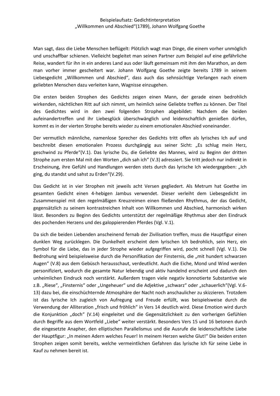 Musterlosung Gedichtinterpretation In 2020 Willkommen Und Abschied Gedichte Von Goethe