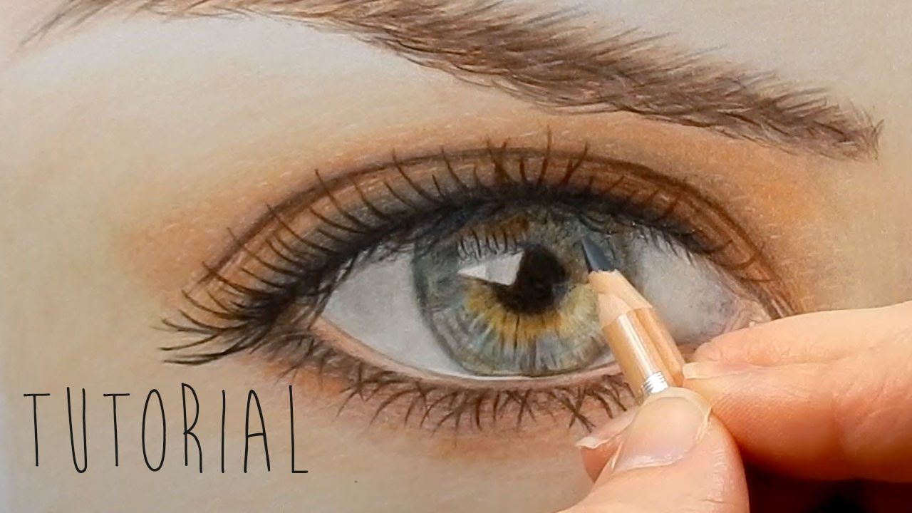 Tutorial | How to draw color a realistic eye and eyebrow ...