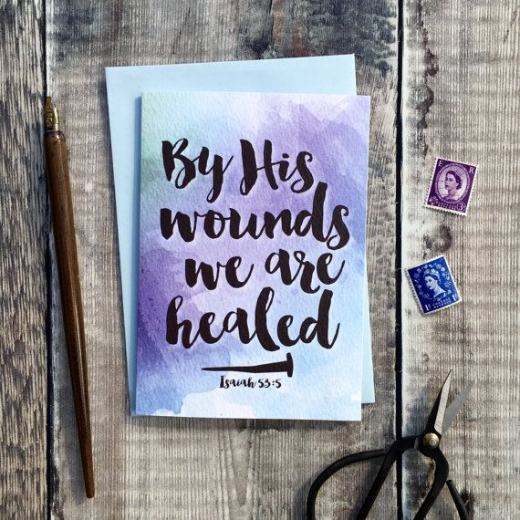 By his wounds we are healed card baptism cards confirmation by his wounds we are healed card easter easter gifts easter cards christian negle Images
