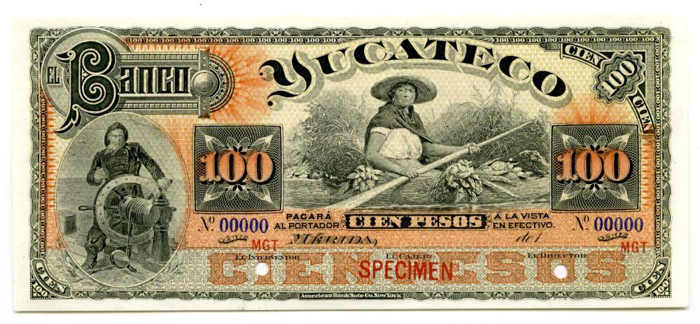 Bancos 100 Pesos Yucatan Unc M568 33182 World Numismatics Llc Yucatan Mexico San Luis Potosi